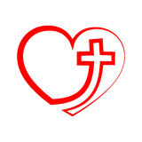Heart with Christian cross. Vector illustration. Christian cross icon in the heart inside. Red christian cross sign isolated on white background. Vector Stock Image