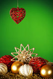 Heart and Christmas decorations Royalty Free Stock Photos