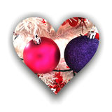 Heart with Christmas decorations Royalty Free Stock Images