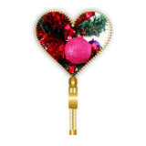 Heart with Christmas globe. Heart shape created from golden zip and filled with flashy Christmas globe, on white background Stock Image