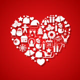 Heart of Christmas icons Stock Images