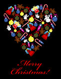 Christmas card with decorated heart shape Stock Photos