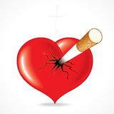 Heart with Cig. Smoking kills -  Illustration of red heart impaled by cigarette. To see more - please visit at my gallery Royalty Free Stock Photos