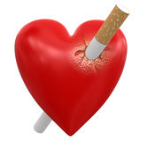 Heart with Cigarette (clipping path included) Stock Photography