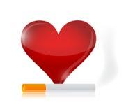 Heart and cigarette illustration design Stock Image