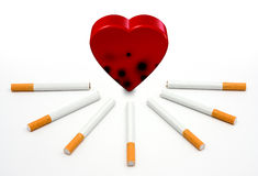 Heart and Cigarettes. Heart under attack by cigarettes on white background Stock Images
