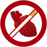 Heart and cigarettes Royalty Free Stock Photo