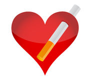 Heart and cigarrette Stock Photography