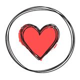 Heart in circle shaped tangled grungy scribble. Hand drawn with thin line, divider shape. Isolated on white background. Vector illustration vector illustration