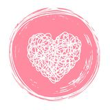 Heart in circle shaped tangled grungy scribble. Heart tangled grungy scribble in an ink circle hand drawn with brush. Isolated on white background. Vector stock illustration