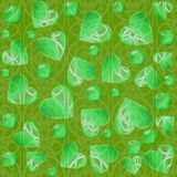 Heart and circle shapes on green background with fine curves. Modern abstract background tile. Royalty Free Stock Images