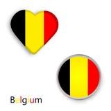 Heart and circle symbols with Belgium flag Royalty Free Stock Photo