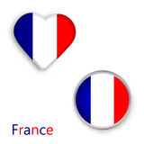 Heart and circle symbols with the flag of France. Royalty Free Stock Photo
