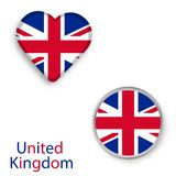 Heart and circle symbols with flag of the United Kingdom. Vector illustration Royalty Free Stock Image