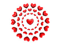 Heart in circles. Red hearts in circles over whiite Stock Photo