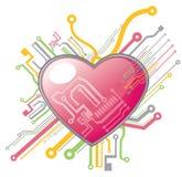 Heart circuit. Pattern design background Stock Photos