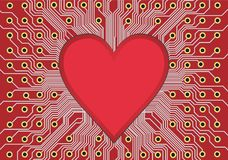 Heart in circuit board Stock Images