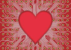 Heart in circuit board royalty free illustration