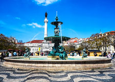 The heart of the city of Lisbon – Rossio square, Portugal stock photography