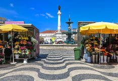 The heart of the city- Rossio square in Lisbon, Portugal Stock Images