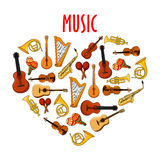 Heart with classical musical instruments symbol Stock Photography
