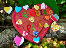 Heart of clay for the fathers day Royalty Free Stock Photography