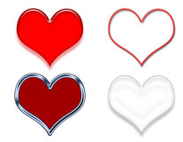 Heart Clip Art Samples. Four heart clip art samples: red beveled, red neon light, red with metallic outline, black and white beveled royalty free illustration
