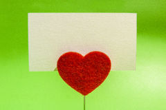 Heart clip card Stock Image