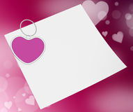 Heart Clip On Note Means Valentines Card Or Stock Images