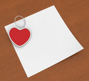 Heart Clip On Note Shows Affection Note Or Love Stock Photo