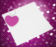 Heart Clip On Note Shows Romantic Message Or Stock Images