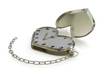 Heart-clock with chain. 3D Stock Photography