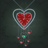 Heart-clock with diamonds Royalty Free Stock Photos