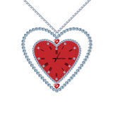 Heart-clock with diamonds and chain Royalty Free Stock Images