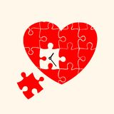 Heart and clock. Puzzle. Illustration stock illustration