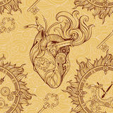 Heart, clockwork and key in steampunk style. Stock Photos