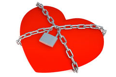 Heart is closed to lock Stock Photo