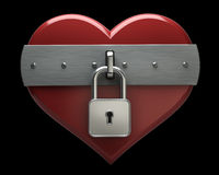 Heart is closed to lock isolated Royalty Free Stock Image