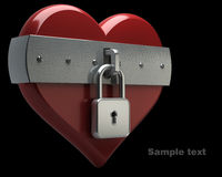 Heart is closed to lock isolated Royalty Free Stock Photos