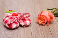Heart of cloth with flower of a rose Royalty Free Stock Image