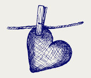 Heart in clothesline Royalty Free Stock Image