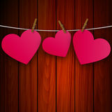 Heart on the clothespin on the background of wooden boards. Heart on a clothespin on the background board, vector art illustration Stock Image