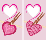 Heart on the clothespin Stock Images