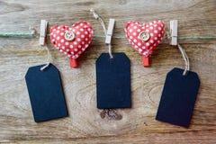 Heart clothespins Stock Photos