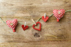 Heart clothespins Stock Images