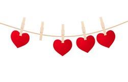Heart clothespins  Royalty Free Stock Photos