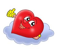 Heart on cloud. Color illustration Royalty Free Stock Image