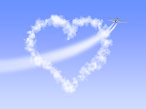 Heart-cloud. The image of heart as clouds through which has flown by the plane, having left a trace as arrow Stock Illustration