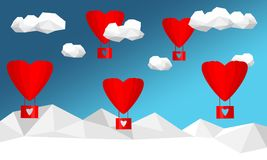 Heart, cloud and air balloon with polygon background. Stock Image