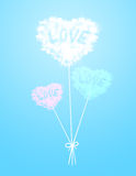 Heart cloud balloon at color background Stock Photography